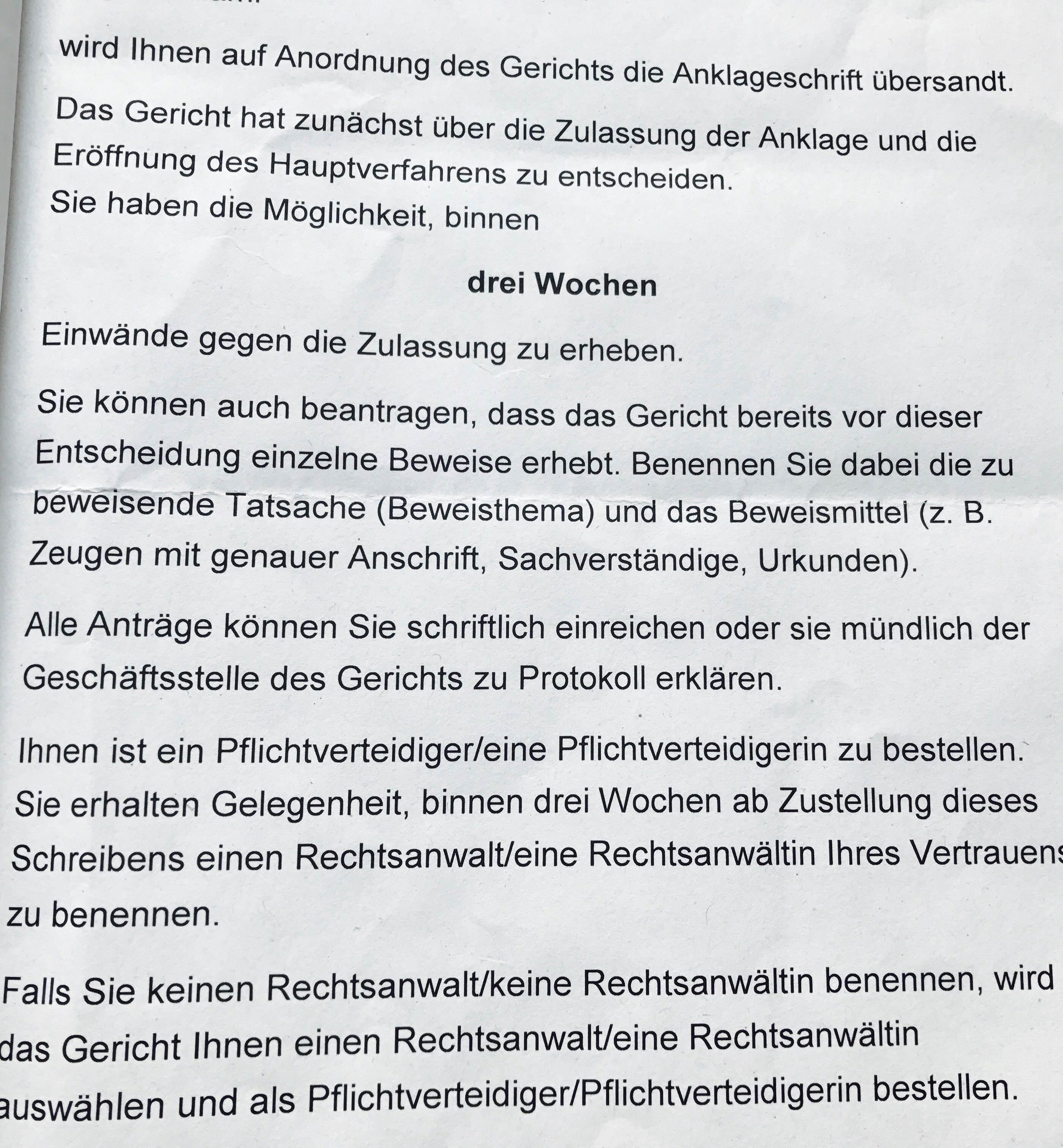 Kanzlei Louis & Michaelis Rechtsanwälte und Strafverteidiger Anklageschrift erhalten