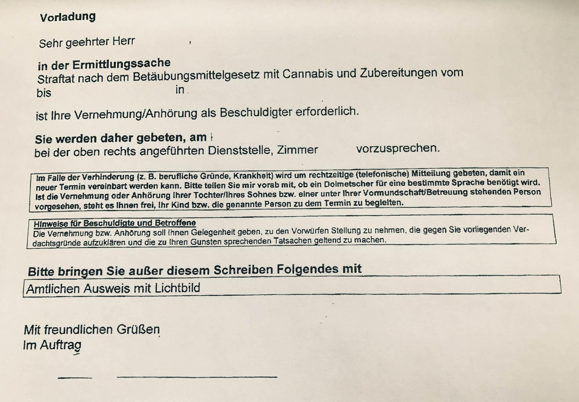 Kanzlei Louis & Michaelis Vorladung als Beschuldigter BtMG